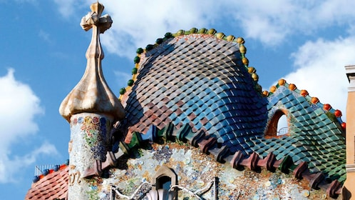 roof detail at detail at Casa Batlló Building in Barcelona, Spain
