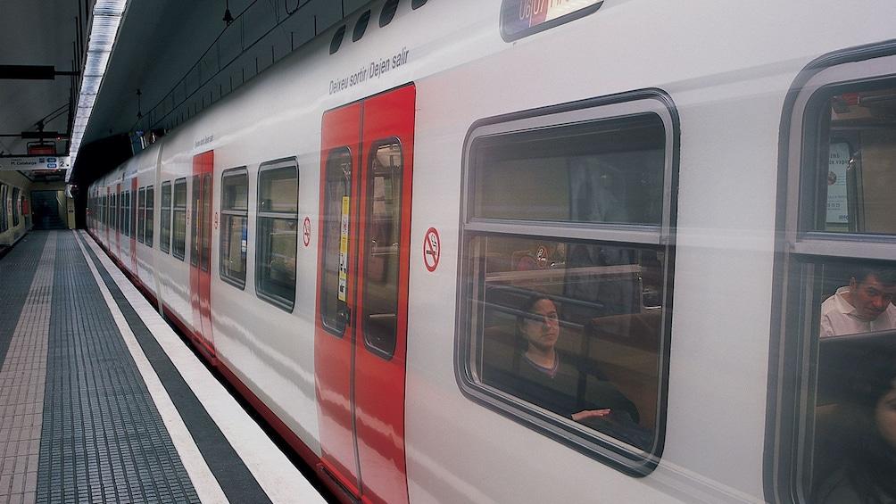 light rail at train station at Barcelona