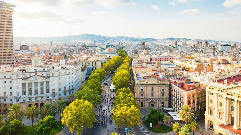 ariel view of downtown village in Barcelona