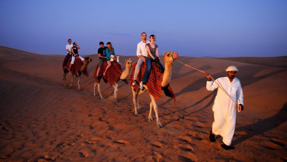Foto 2 van 6. Arabic bedouin leading three camels and passengers in desert in Dubai