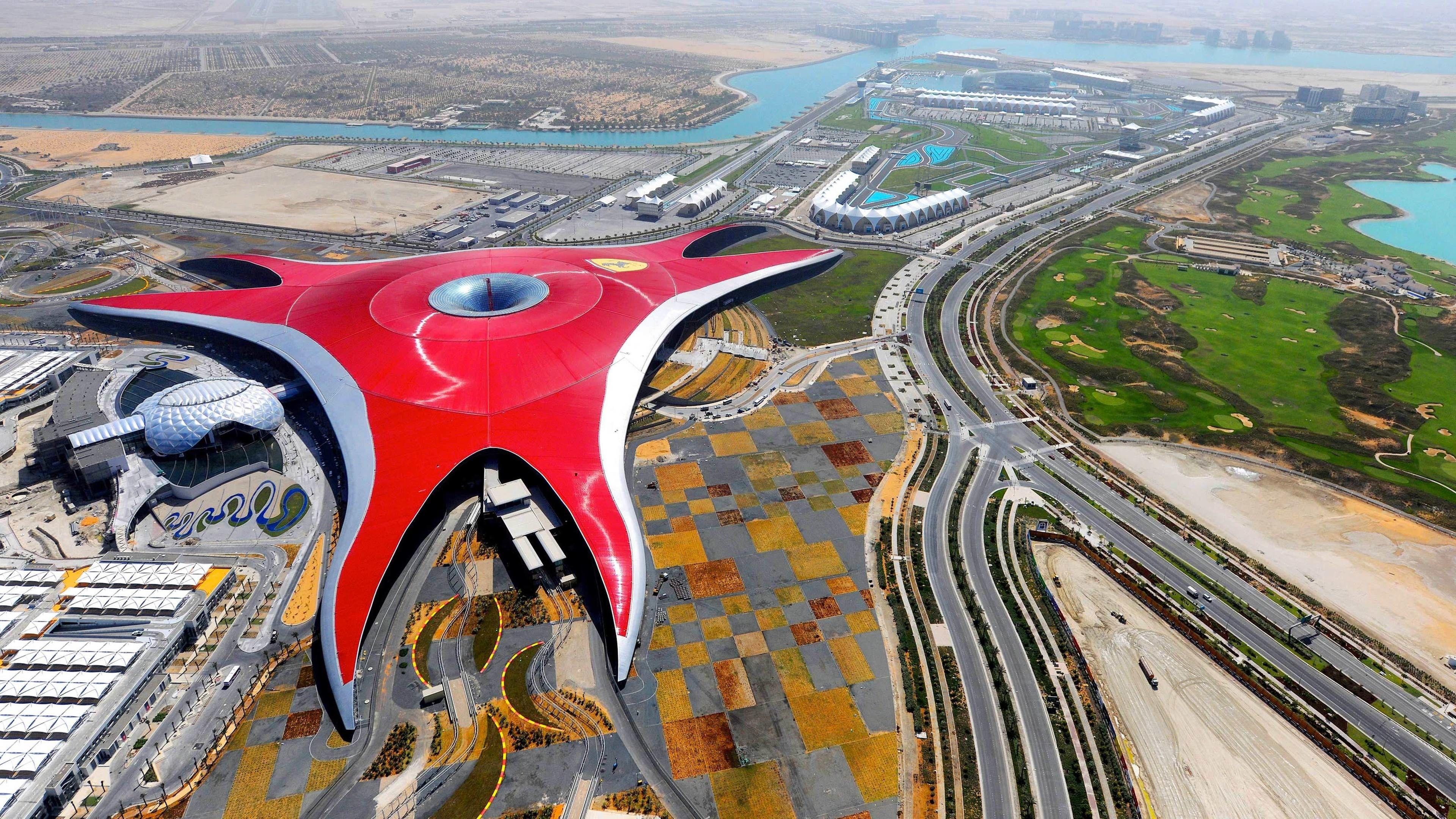 ariel view of Ferrari world park in Dubai