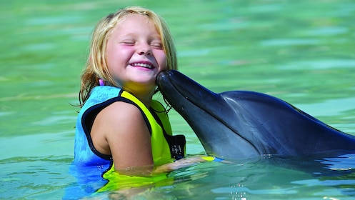 dolphin nudges young girl on the cheek at waterpark in Dubai