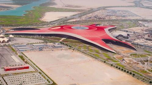 ariel view of Ferrari world theme park in Dubai