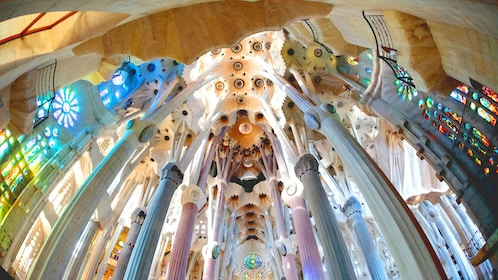 colored pillars and ceiling at Sagrada Fami?lia church in Barcelona