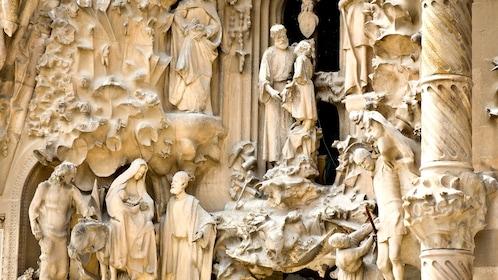sculpture detail at Sagrada Fami?lia church in Barcelona