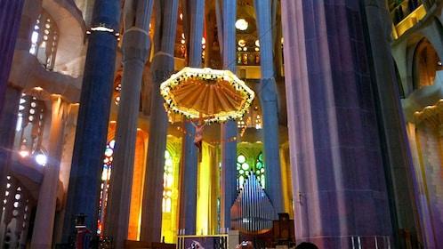 pillars and chandelier at Sagrada Fami?lia church in Barcelona