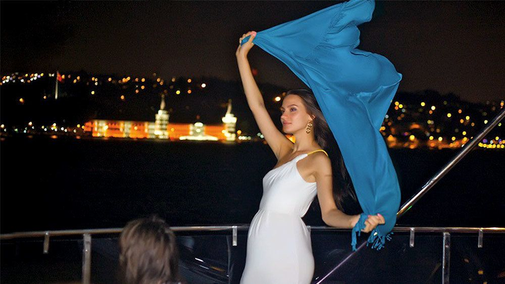 Woman dancing on the deck of the Bosphorus