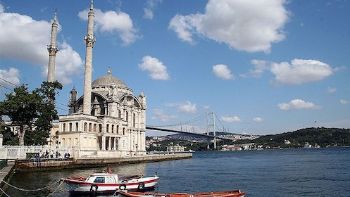 View of Ortaköy Mosque from the Bosphourus waters in Istanbul