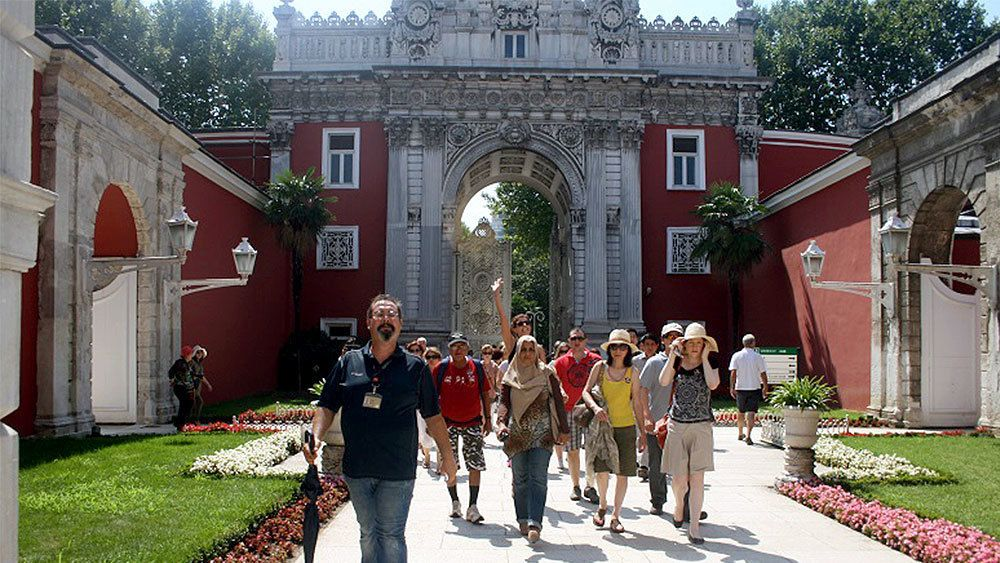 View of a group touring Dolmabahçe Palace in Turkey