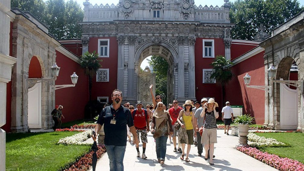 Tour group walking at the Dolmabahçe Palace in Istanbul