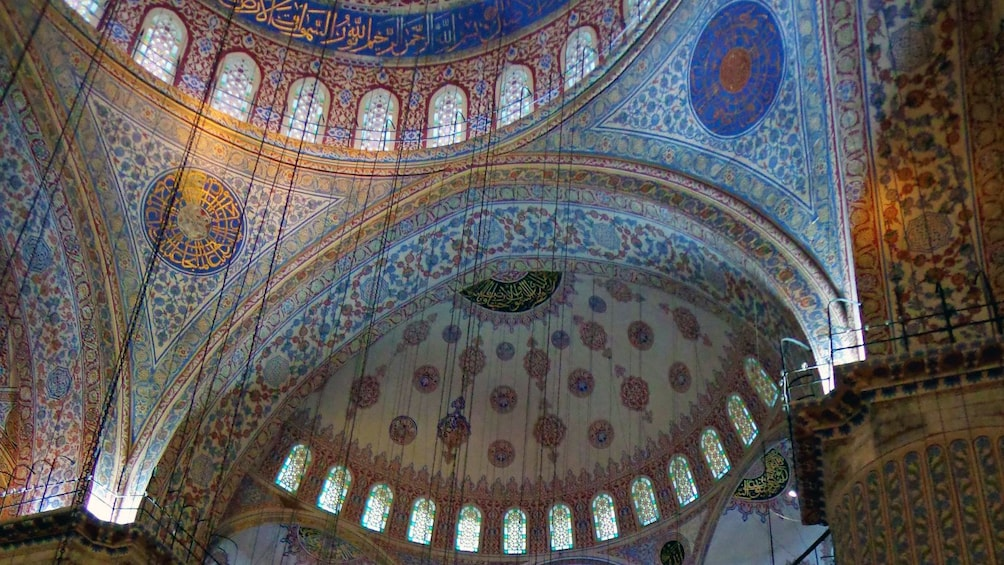 Interior view of the Blue Mosque in Istanbul