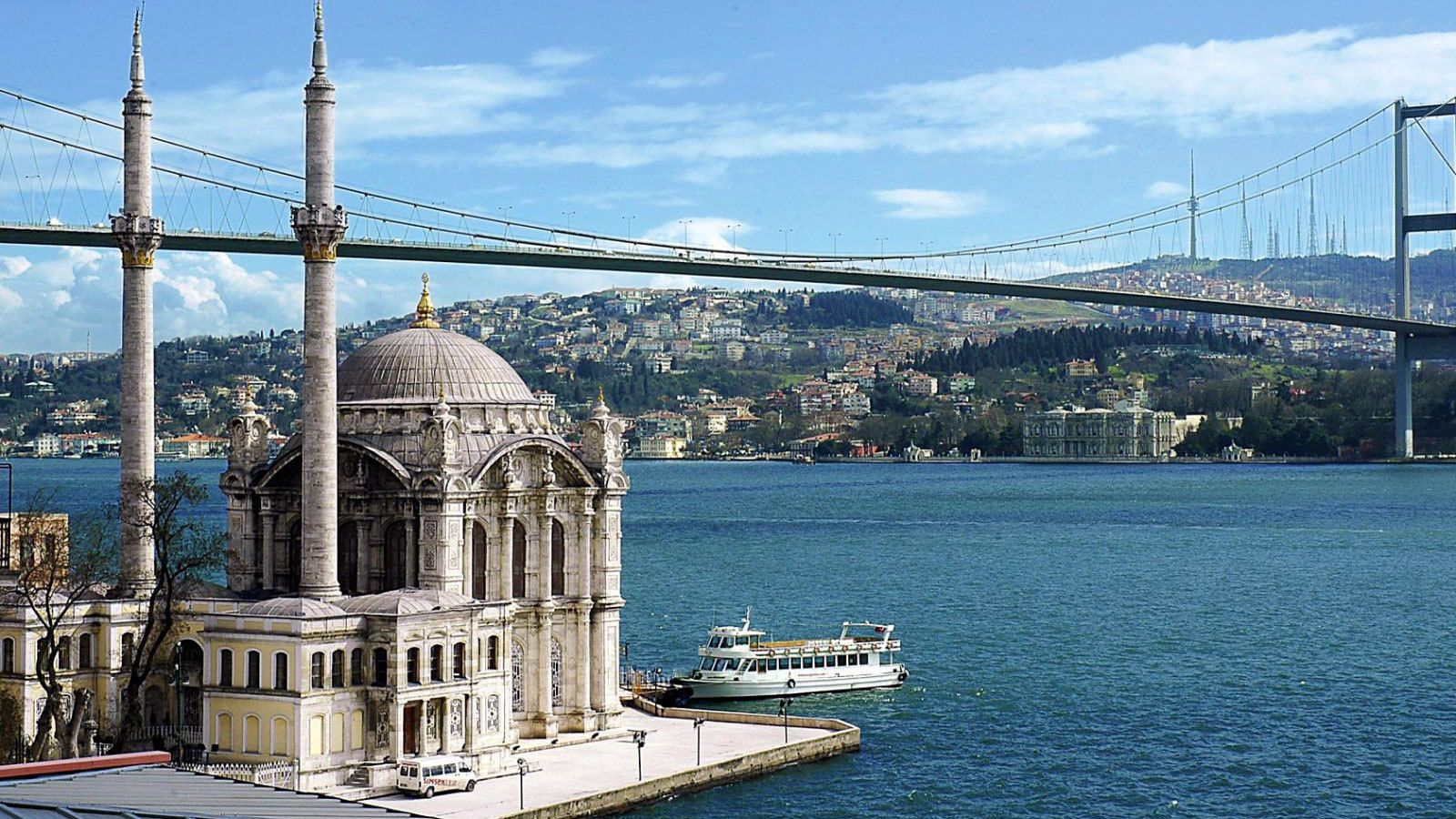 Day view of the Bosphorus Strait in Istanbul