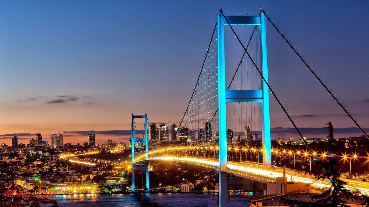 Night view of a bridge in Istanbul