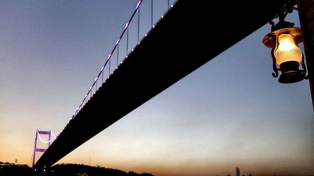 Bosphorus Suspension bridge in Istanbul at night
