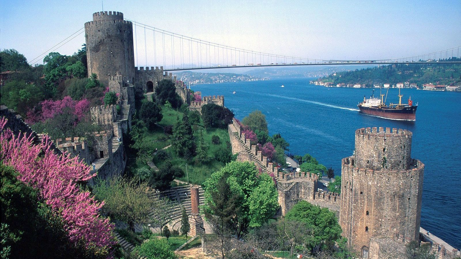 Close view of the fortress Rumeli Hisari and view of Istanbul in the backdrop