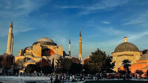 Sunset view of the Hagia Sophia in Istanbul