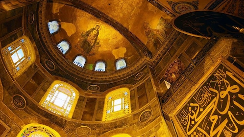 The dome and windows at the Hagia Sophia in Istanbul