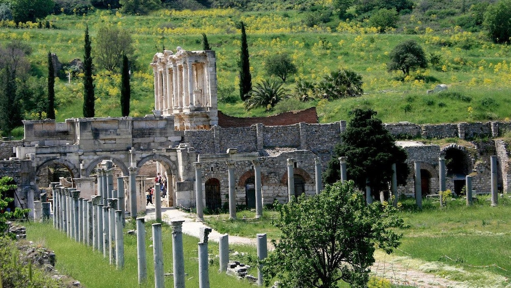 View of the Ephesus Agora and Library in Turkey