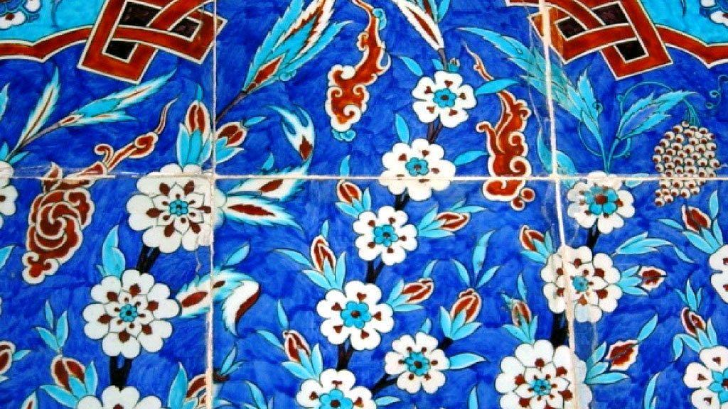 Blue designed tiles inside the Rüstem Pasha Mosque in Istanbu