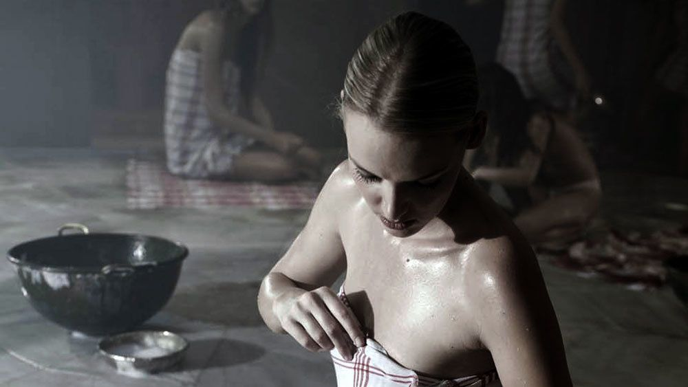 Woman preparing for a Turkish bath at the Cemberlitas Hamam in Istanbul
