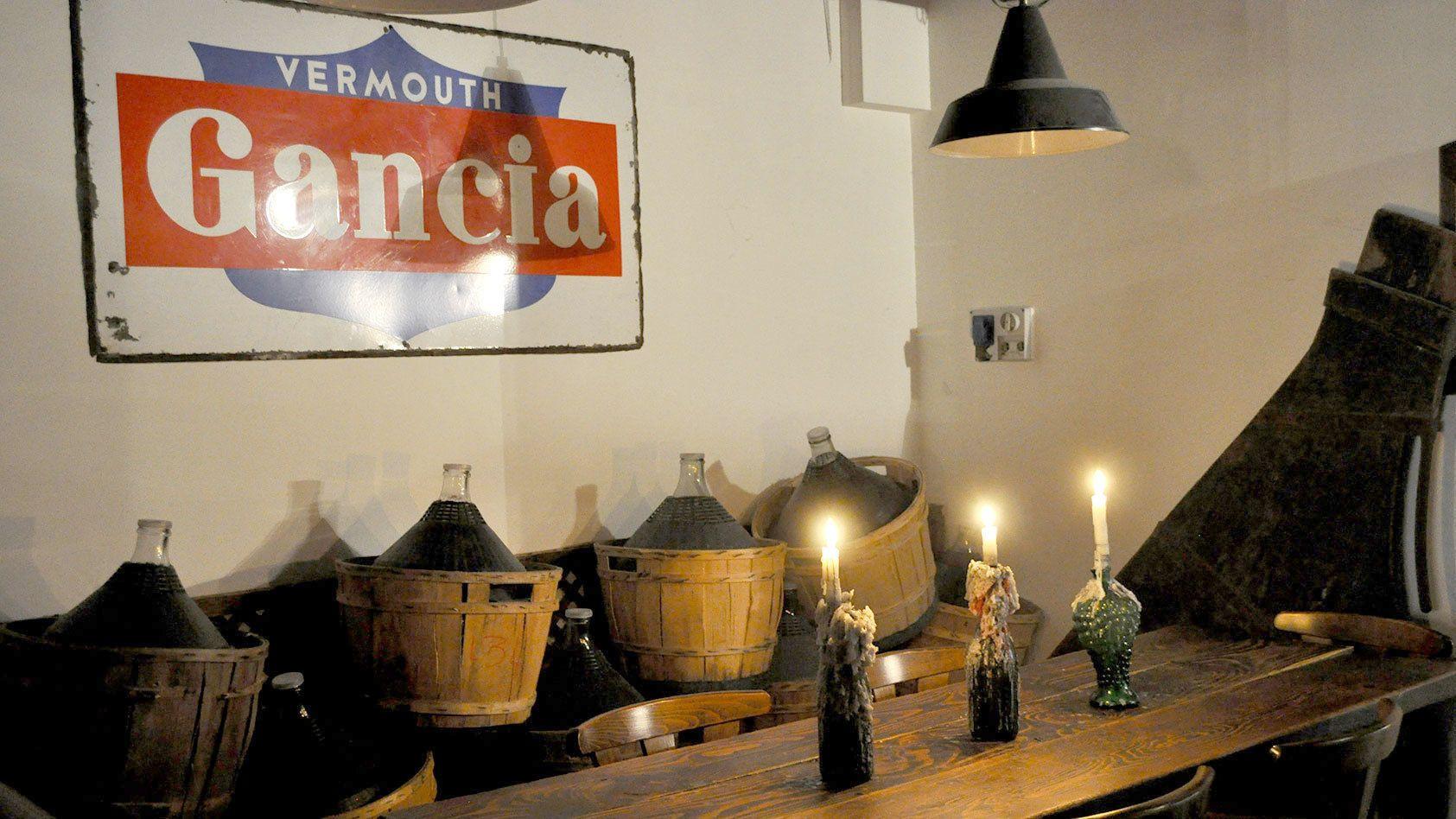 Bottles of wine in baskets in Venice Italy