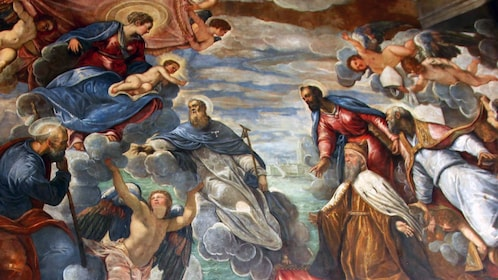 Mural of saints and angels in Doges palace in Venice Italy