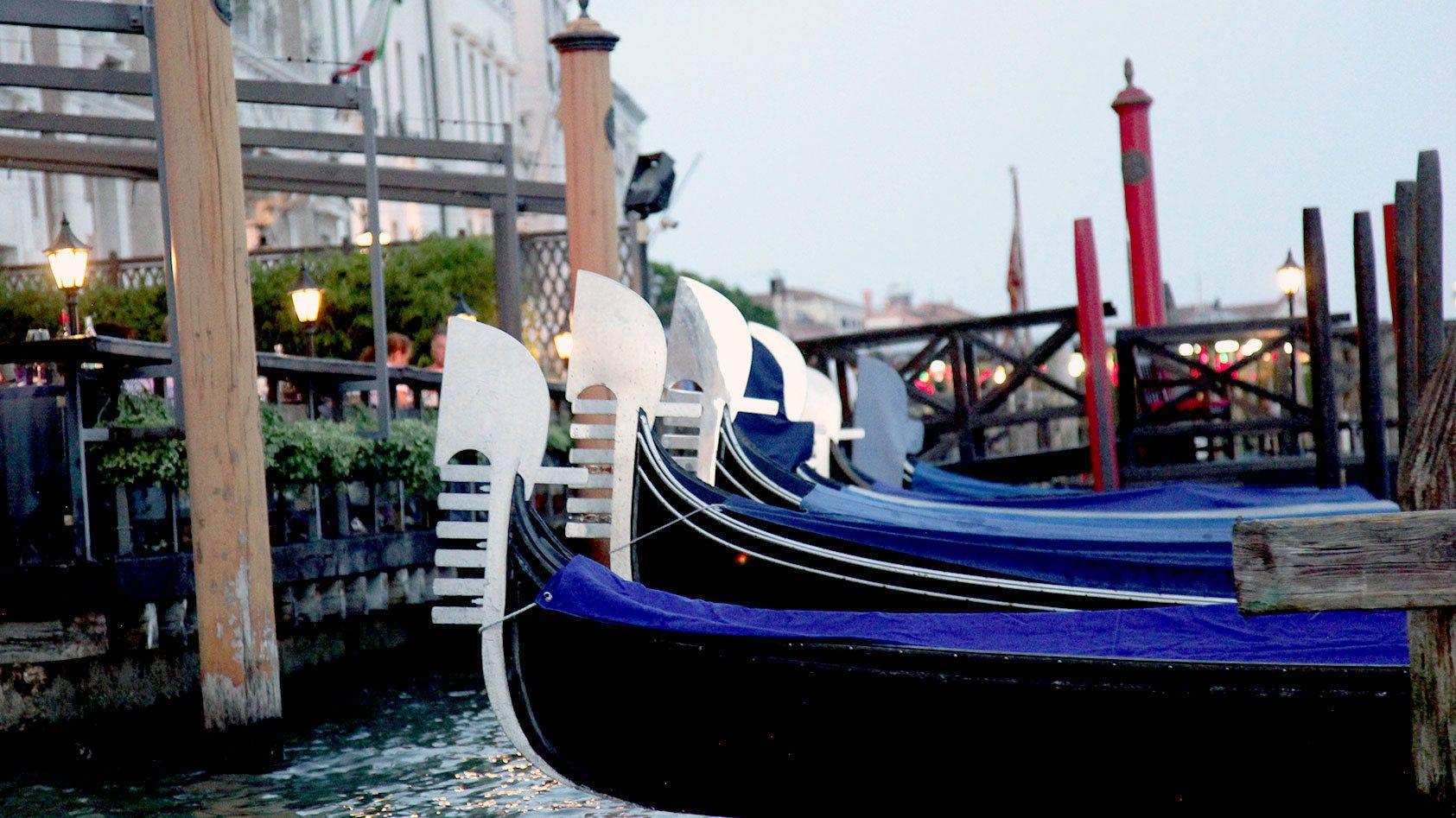 Gondolas docked in Venice Italy