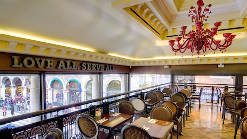 Eating area inside the Hard Rock Cafe in Venice Italy