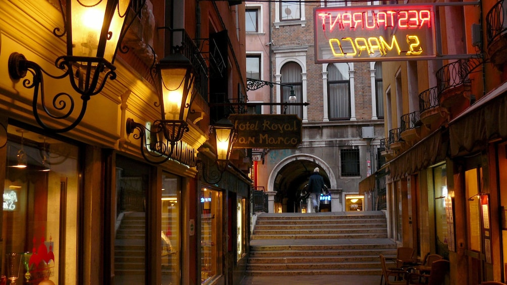 Restaurant on the street in Venice Italy