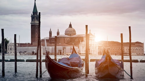 Docked gondola in Venice Italy