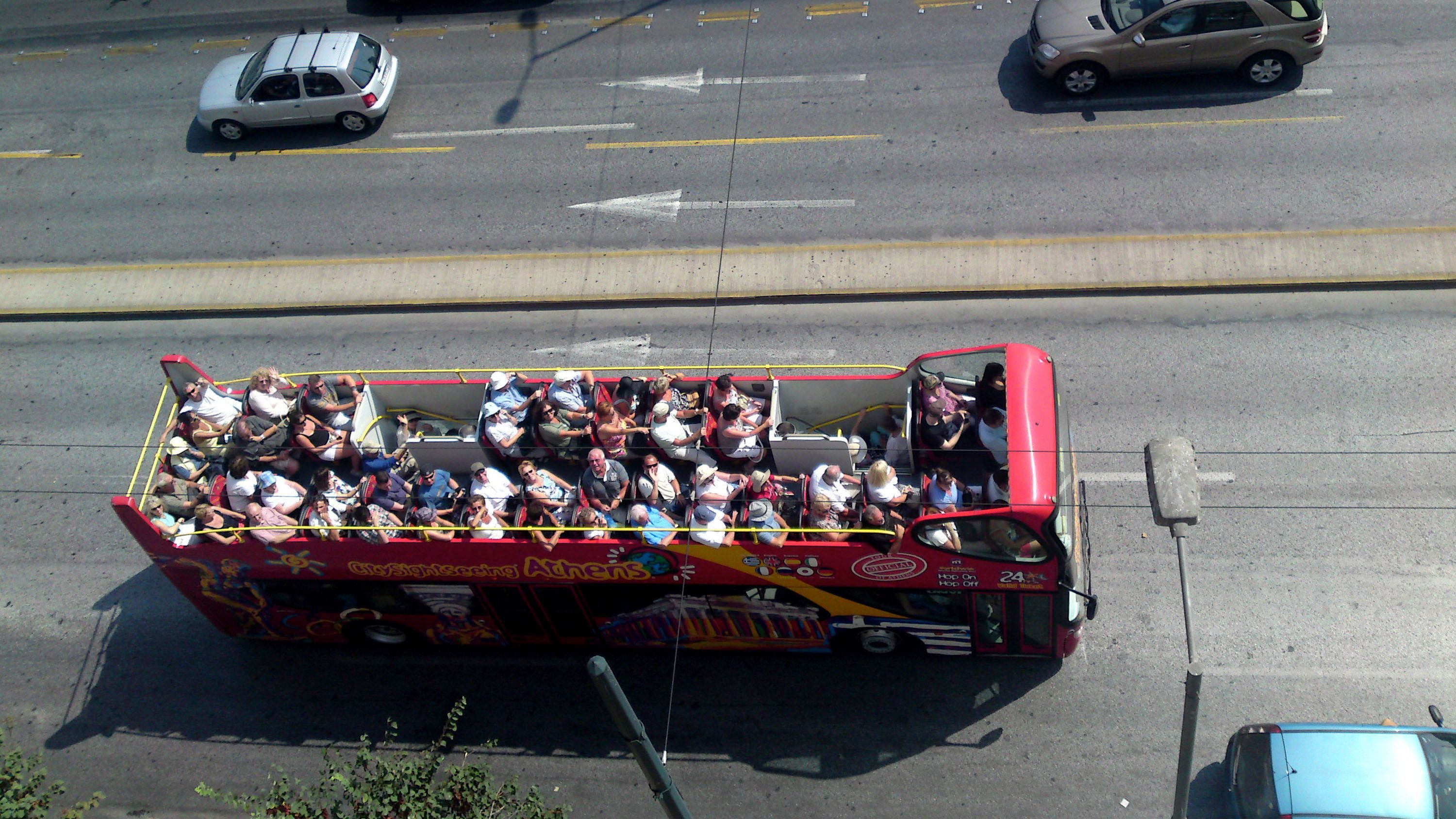 Open-top sightseeing bus in Athens