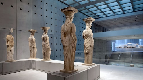 Caryatid sculptures on display at the Acropolis Museum in Athens
