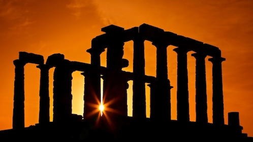 Sunset at the Temple of Poseidon in Cape Sounio