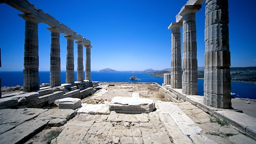 The Temple of Poseidon looking out at the water in Cape Sounio