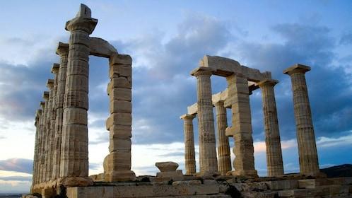 The Doric columns of the Temple of Poseidon in Cape Sounio