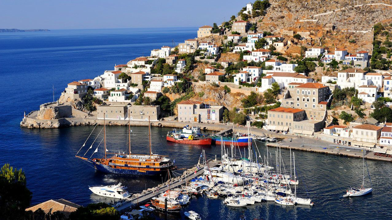 Harbor and town on Hydra Island