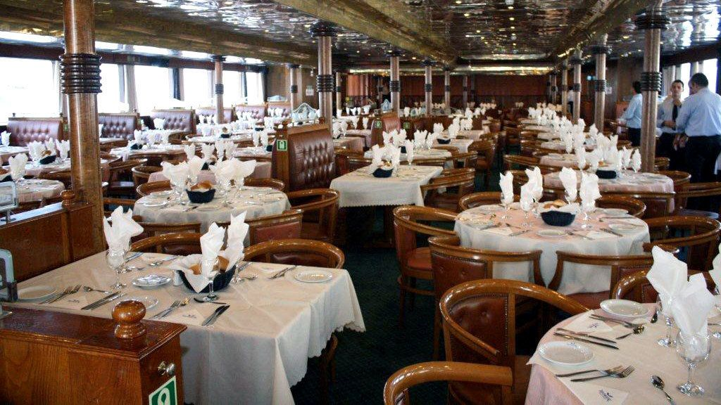 Interior dining room on a cruise ship