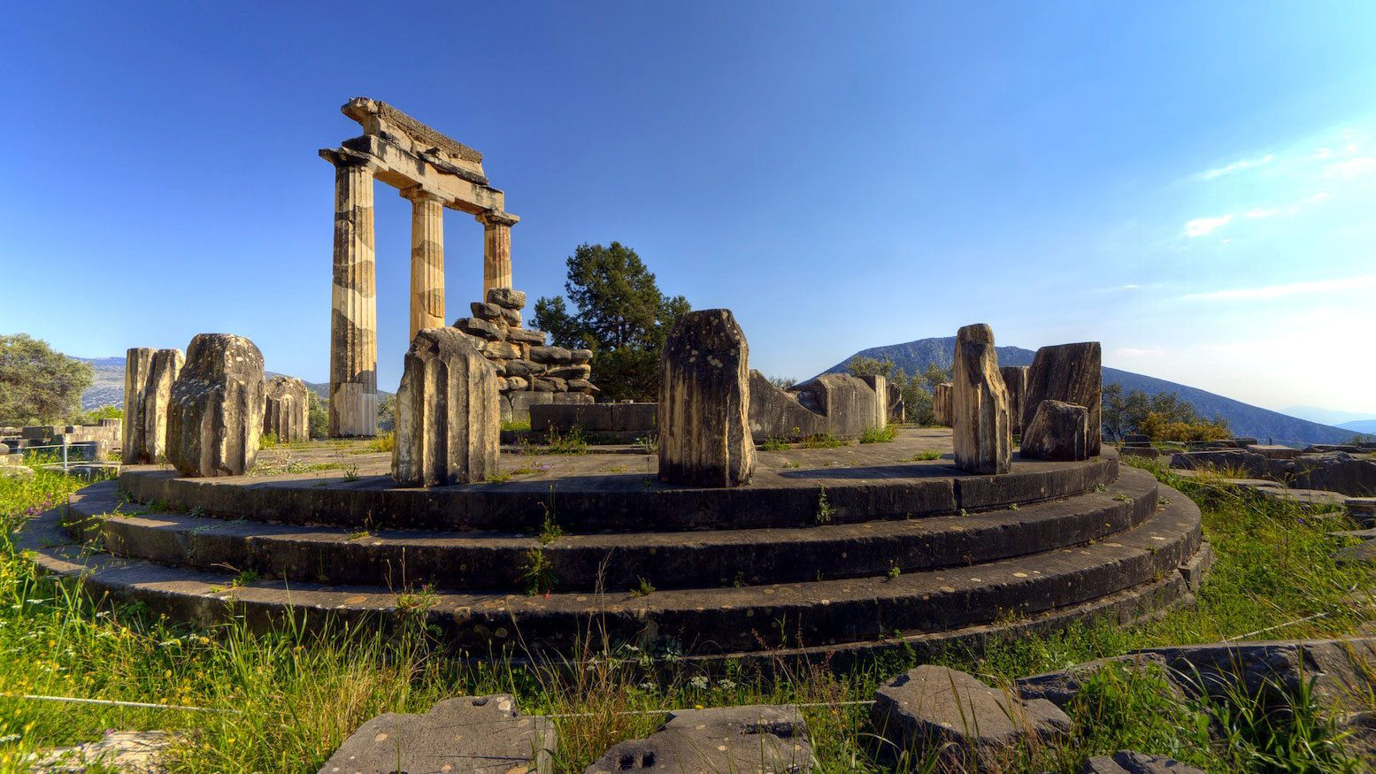 Circular ruins of the sanctuary of Athena Pronoia at Delphi