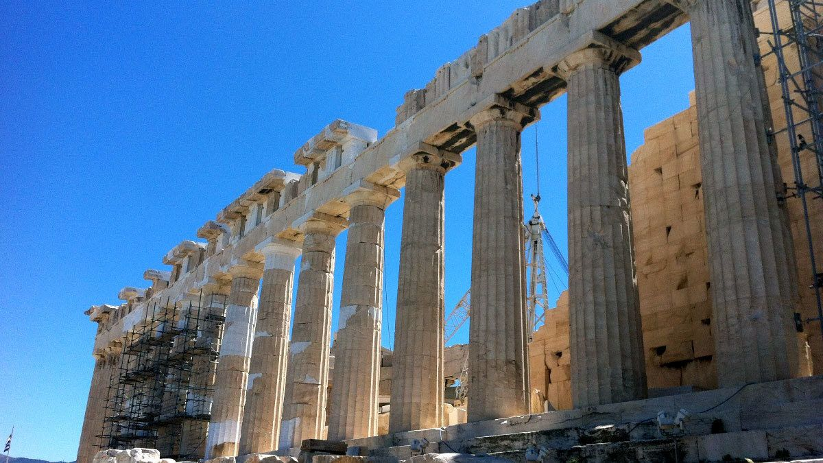 Columned ruins in Athens