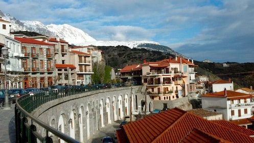 Town of Arachova with mountains in the background