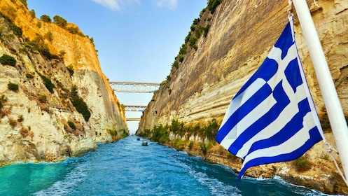 View from a boat traveling through the Corinth Canal