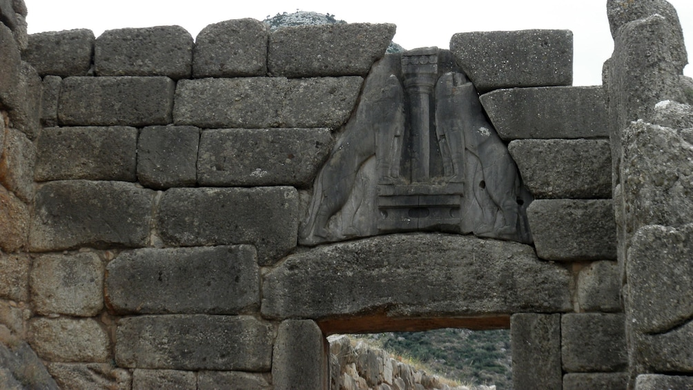Show item 2 of 15. The Lion Gate entrance to the citadel of Mycenae