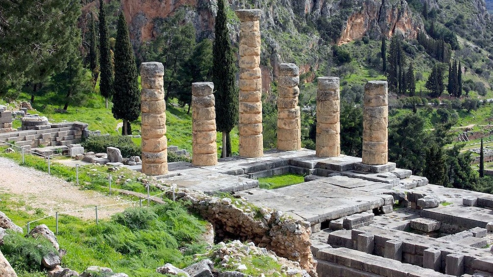 Show item 15 of 15. The remaining columns of the Temple of Apollo at Delphi