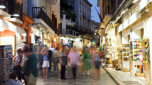 People in the Plaka District at night in Athens