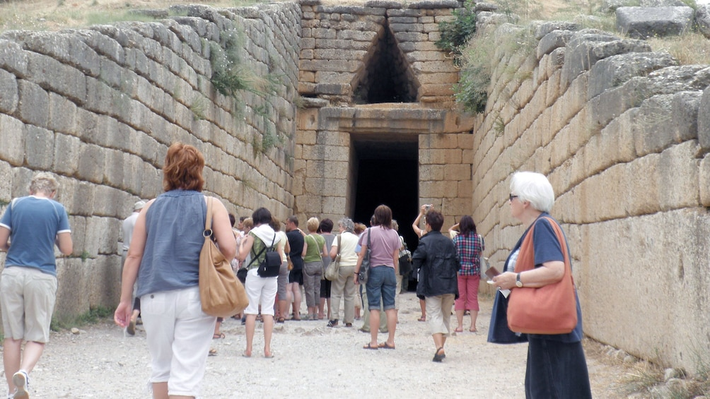Tour group at the Tomb of Agamemnon in Mycenae