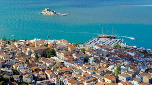 Seaside town of Nafplio with the Castle of Bourtzi in the harbor