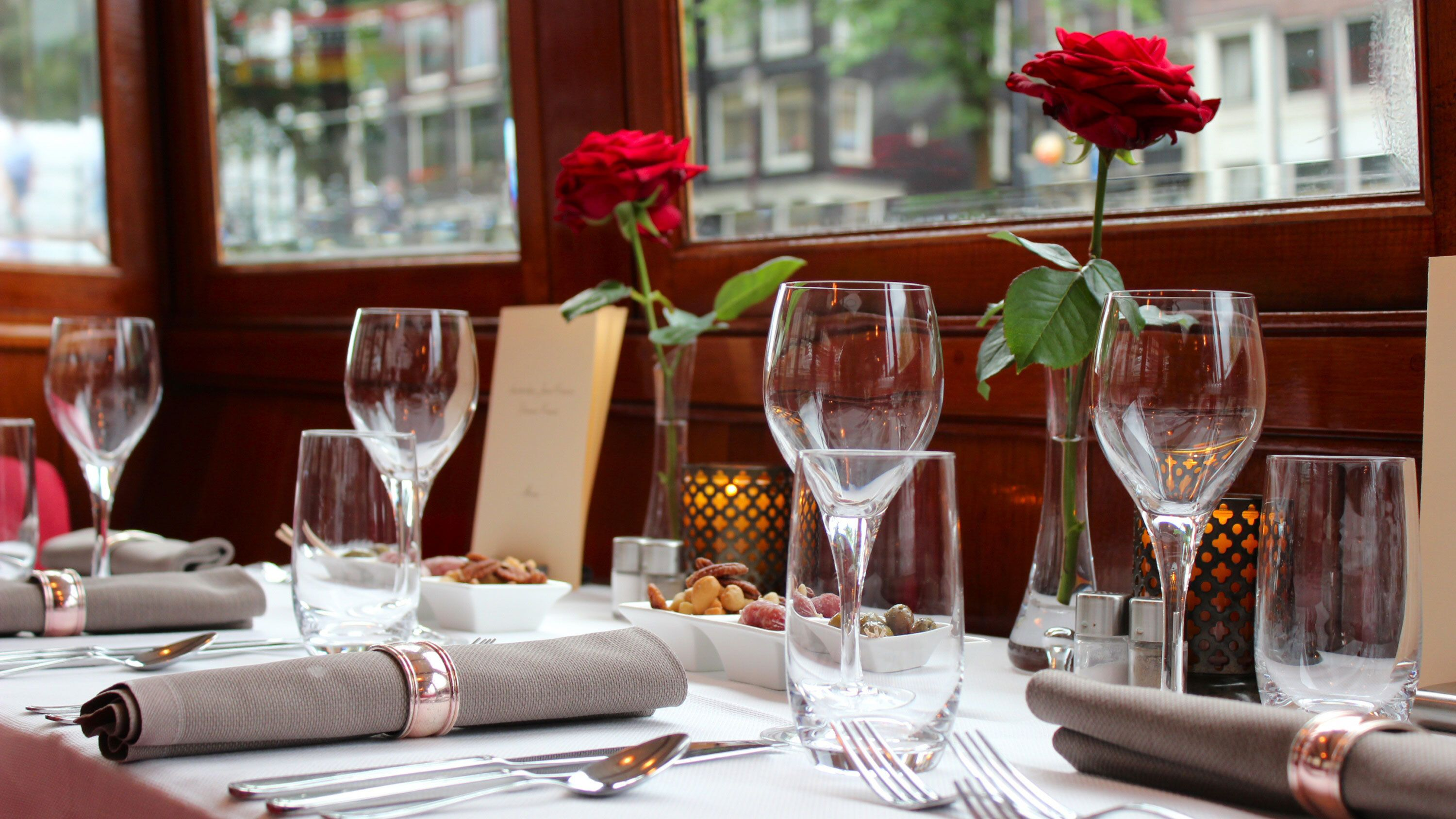 Dining setting on cruise boat in Amsterdam