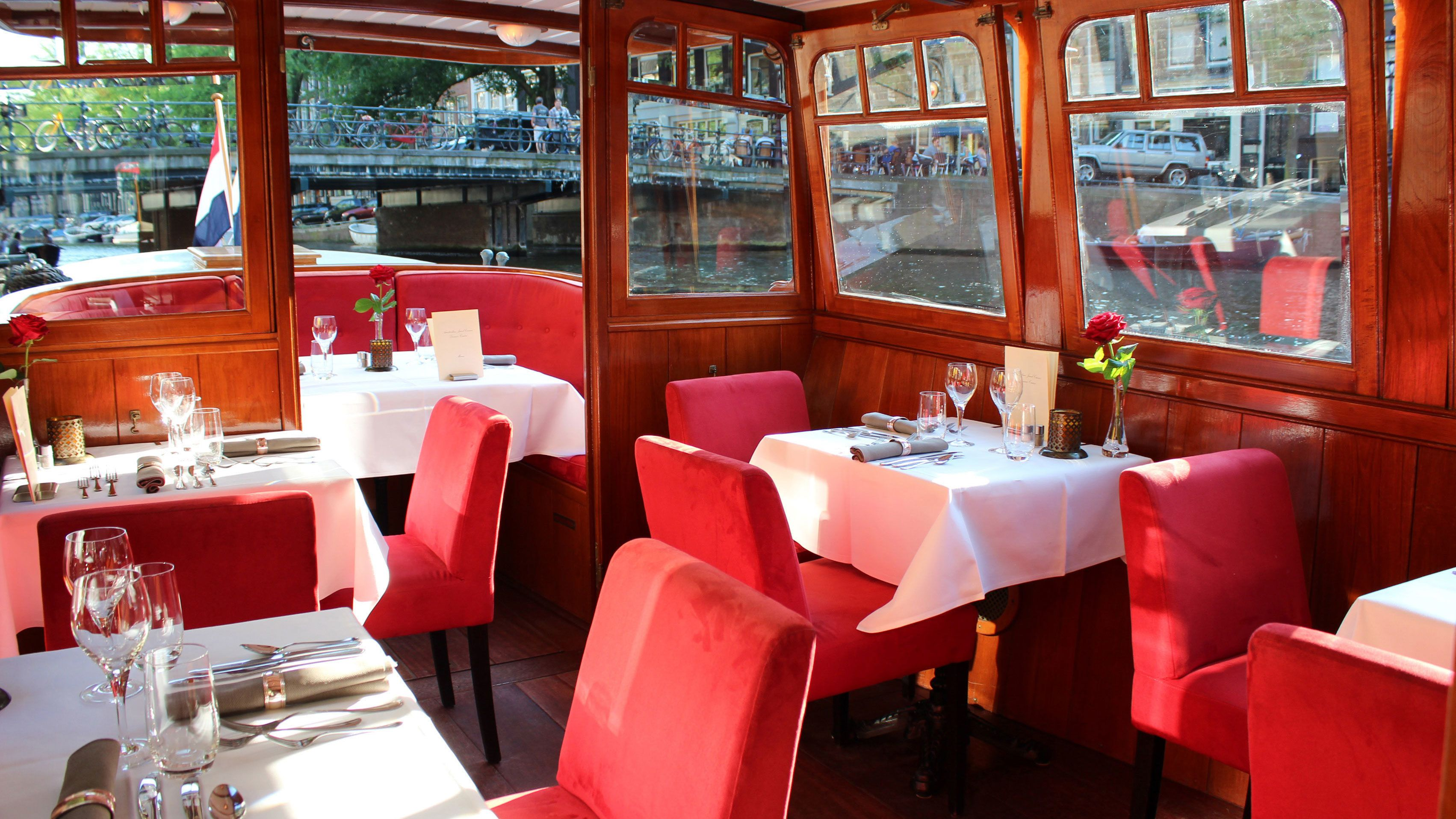 Dining area on cruise boat in Amsterdam