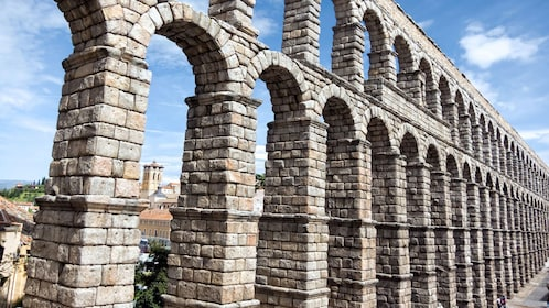 Close view of the Aqueduct of Segovia