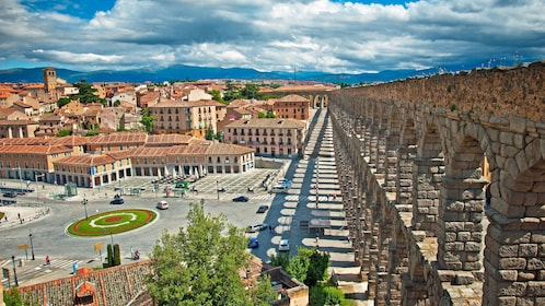 View of the city and close view of the Aqueduct of Segovia in Spain